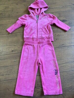 Infant Girls Pink Velour 2 Piece Tracksuit Juicy Couture 6-12 Months