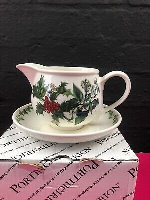 Portmeirion Holly and The Ivy Gravy Boat Sauce Jug and Stand / Saucer BOXED