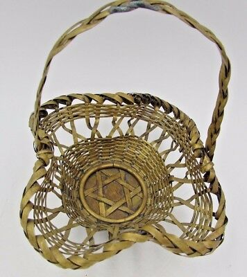 RARE Primitive Antique Sm Woven BRASS Basket Fixed Handle with Star of David