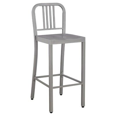 (2)Low Back Barstool Metal/Silver Modern Industrial Style By Ace Bayou 41.5 tall