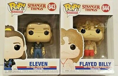 Funko POP FLAYED BILLY 844 + ELEVEN 843 Season 3 Stranger Things MINT FAST SHIP