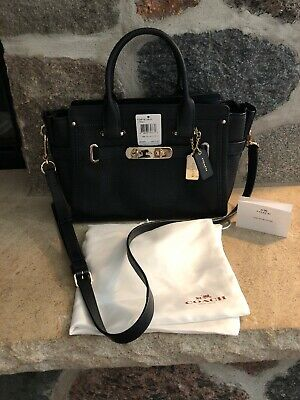 3e4daaf2f NWT COACH SWAGGER 27 Satchel Carryall Leather 34816 Deep Coral $450 ...