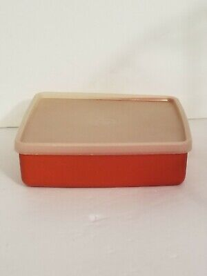 tupperware Square Sandwich Keeper Harvest Orange 670 lunch vintage container