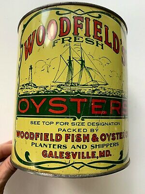 Vintage 1 Gallon Woodfield's Oysters Tin/ Can 1950's