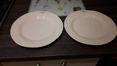 "2  x PORTMEIRION SOPHIE CONRAN 11"" Dinner Plates Off White NEW WITH LABELS"