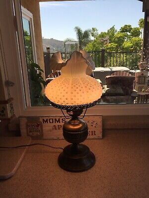 Vintage Fenton Glass Student Lamp in Milk Glass Hobnail Style