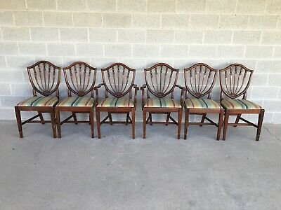 Antique Solid Mahogany Shield Back Dining Chairs - Set Of 6
