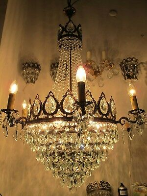 Antique Vintage GIGANTIC Crystal Chandelier Ceiling Lamp 1940's 36in Dmt UltraRR