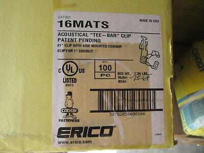 """(100) Erico Caddy 16MATS Tee-Bar Clips Side Mount for 1"""" Conduit NEW!!! in Box"""