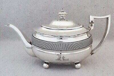 Antique Georgian Sterling Silver Armorial Teapot Solomon Hougham 1808 637g