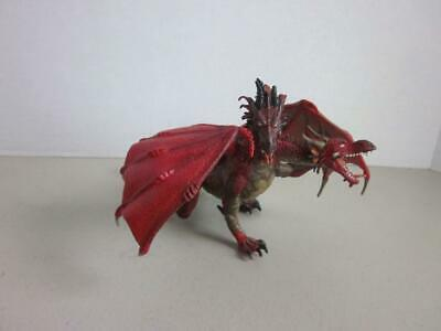 """TWO HEADED Red & Black Dragon Mythical Fantasy Great Details 8"""" Long Papo 2005"""