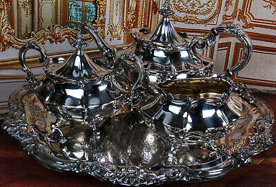 Gorgeous Antique Reed & Barton Victorian Silverplate Tea Set 6710 Top Tea Set