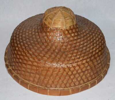 64f2c3ad8 Vietnamese bamboo straw hat coolie Asian cultural Vietnam art Vintage Small