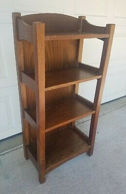 Signed L&JG STICKLEY MAGAZINE STAND BOOKSHELF Arts & Crafts Mission Oak Antique