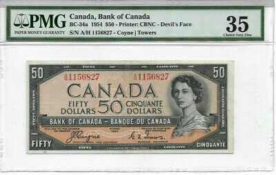 1954 DEVILS FACE  $50 Coyne-Tower Bank of Canada PMG Graded VF35