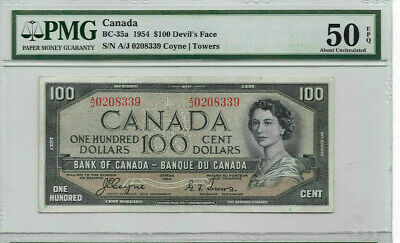 1954 DEVILS FACE  $100 Coyne-Tower Bank of Canada PMG Graded AU50 EPQ