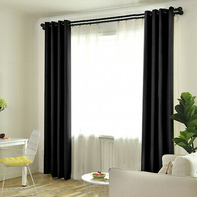 """2 Panels 46""""×72"""" Luxury Blackout Curtains Eyelet Ring Top Heavy Thick Grommet"""