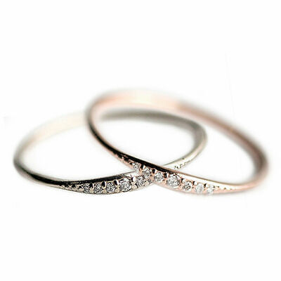 2019 Exquisite Small 14K Silver Gold Filled Tiny Baguette Diamond Ring Size 6-10