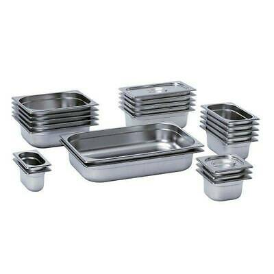 6 Units Full Stainless Steel Gastronorm GN 2/1 Pan x 100mm Depth