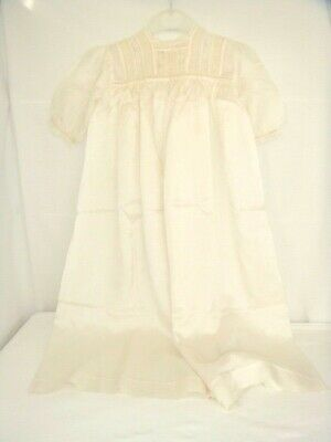 NEW UNUSED ANTIQUE / VINTAGE PURE SILK HAND MADE CHRISTENING GOWN, c1880/1910
