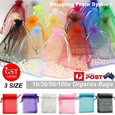 30-100 Pcs 3 Size Organza Bag Sheer Bags Jewellery Wedding Candy Packaging Gift