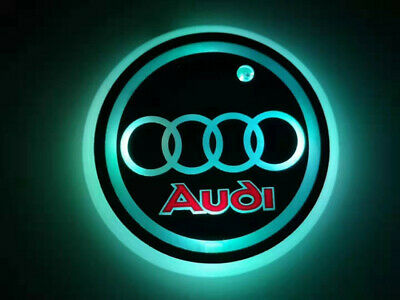 2PC colorful LED Car Cup Holder Pad Mats Auto Interior Atmosphere Light For Audi