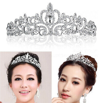 Bridal Princess Rhinestone Crystal Hair Tiara Wedding Crown Veil Headband Silver
