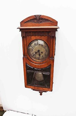 Edwardian walnut cased antique wall clock
