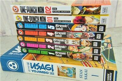 Set of 8 Manga PB Books: Shonen Jump Shaman King One - Punch Man & More!
