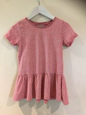 Next Lovely Girls Pink With Hearts Dress Age 4yrs 100% Cotton