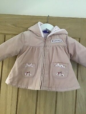 Jasper Conran baby girls coat colour pink  age 0/3 months with hood good conditi