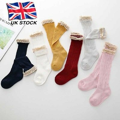 Girl Kids Children Toddler Knee High Cotton School Socks Bow Frilly Lace Useful