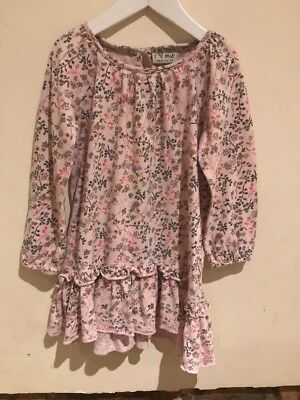 Next Lovely Girls Floral Pink Dress Age 3-4yrs 100% Cotton