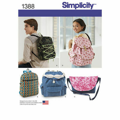 Simplicity Sewing Pattern 1388 Bags Backpacks or Messenger Bag Adjustable Straps
