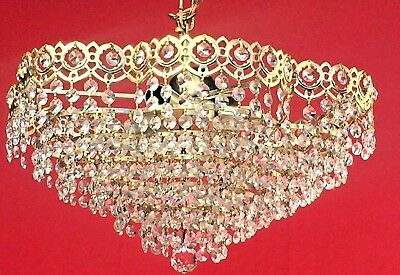 Crystal and Brass Chandelier, Daisy Shaped.Antique,  43cm. French/Spanish. (133)