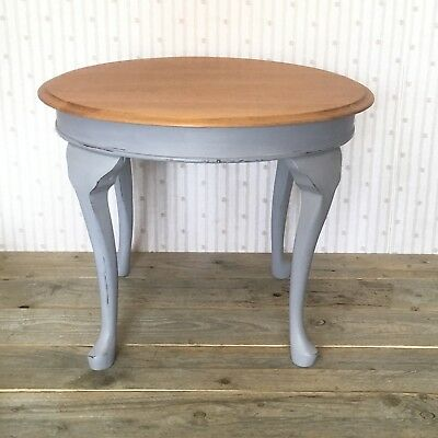 Round Side Coffee Table Painted Grey Natural Solid Wood Vintage Recycled Country