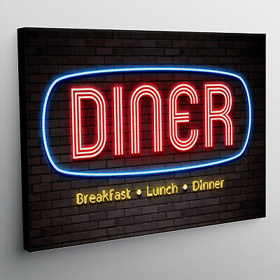 Diner Neon light effect american diner Canvas Wall Art Picture Print