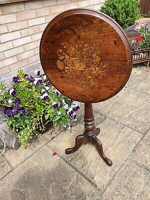 Antique Tilt Top Wine,side ,lamp Table Marquetry Inlay Pedistal