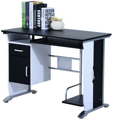 Computer Desk Table Home Office Furniture with Keyboard Tray & CPU Stand Black