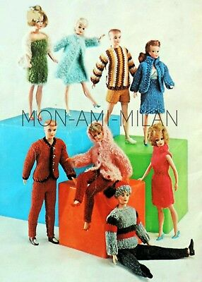 Barbie Sindy Tressy Ken Dolls Clothes Knitting Pattern Photocopy Lots of Outfits