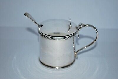 Silver Mustard/Sauce Pot - HM Chester 1915 Barker Brothers - Glass Liner & Spoon