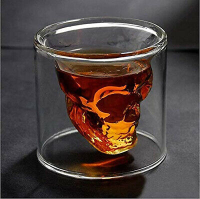 150ml Shot Transparent Crystal Skull Head Glass Cup For Whiskey Wine Vodka