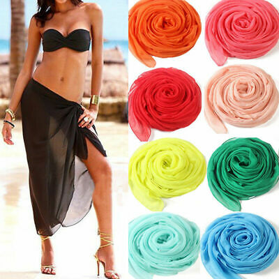 4d94820ebc Charm Women Chiffon Beach Bikini Cover Up Wrap Scarf Pareo Swimwear Sarong  Dress