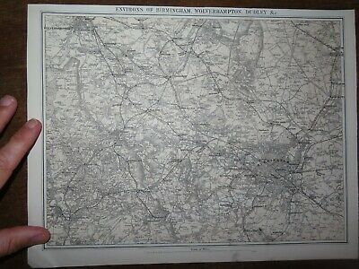 1883 MAP of the ENVIRONS OF BIRMINGHAM WOLVERHAMPTON and DUDLEY by BACON