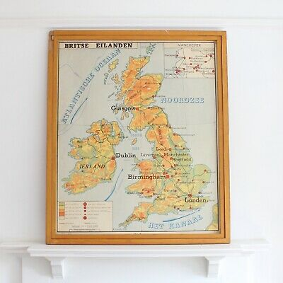 Original Dutch educational double sided map by Rossignol - UK and Netherlands