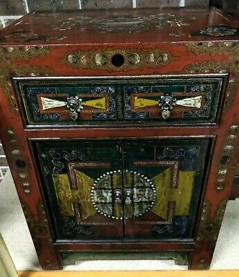 Antique Chinese Cabinet with cupboard and drawer hand painted oriental asian