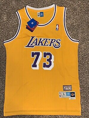newest 9b286 5d1cd DENNIS RODMAN #73 Los Angeles Lakers 1990s Throwback Gold Jersey!