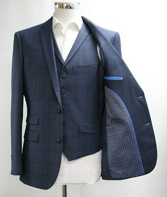 Men's Unbranded Checked Navy Blue Blazer & Waistcoat Set (40R).. Sample 5208