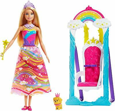 Barbie Dreamtopia Princess Swing Doll Pet Dog Colourful Throne Seat Kids Playset
