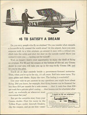 1965 Vintage ad for Cessna`$5 to fly retro Coupon photo Cessna 150